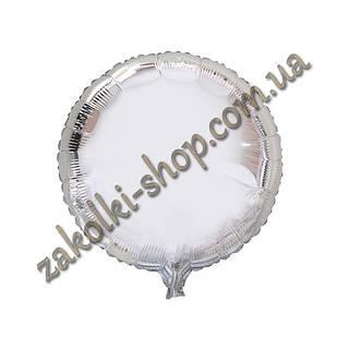Фольгированные воздушные шары, форма:круг, цвет: серебро, 18 дюймов/45 см, 1 штука