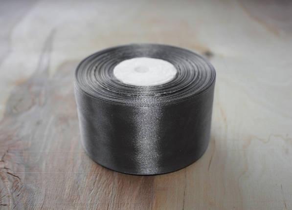 Лента атласная темно- серая 5 см, моток 33 м., фото 2
