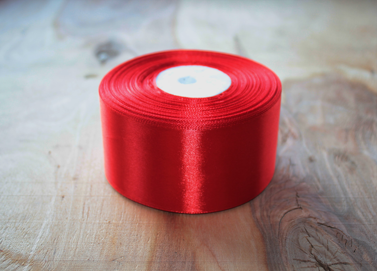 Лента атласная красная 5 см, моток 33 м.