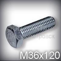 Болт М36х120 прочность 8.8 оцинкованный DIN 933 (ГОСТ 7805-70, ГОСТ 7798-70)