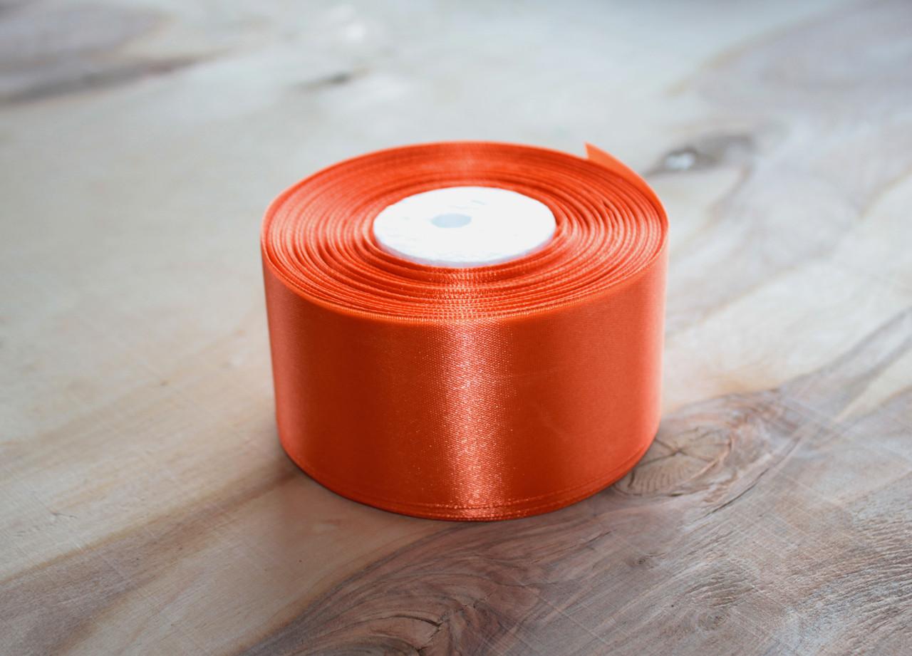 Лента атласная оранжевая 5 см, моток 33 м.