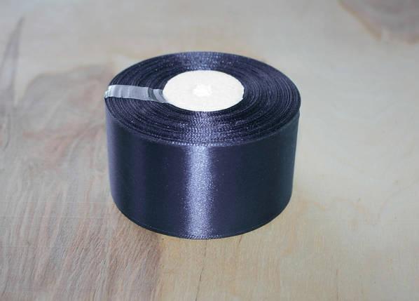 Лента атласная темно- синяя 5 см, моток 33 м., фото 2