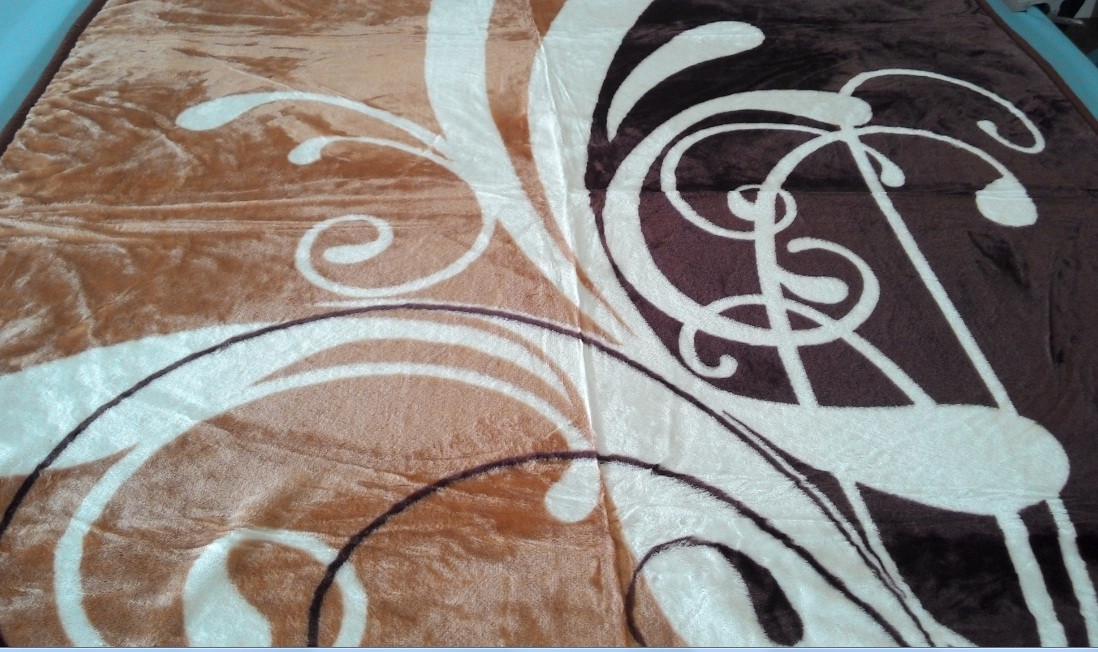 Плед акриловый двуспальный TRUE LOVE латте-арт коричневый