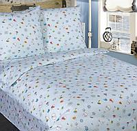 Подростковое полуторное постельное белье с простыню на резинке 90*200*25 - Юнга, поплин