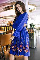 Платье . 01450-ткань лен с вышивкой-размер универсальный цвета-электрик