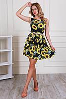 Стильное летнее платье с пышной юбкой и цветочным принтом