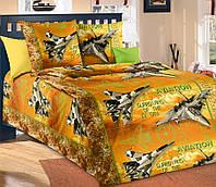 Подростковое полуторное постельное белье с простыню на резинке 90*200*25 Стражи неба беж., бязь ГОСТ