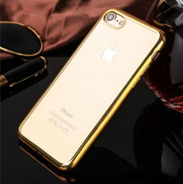 Силиконовый чехол c золотыми ободами iphone 7/8