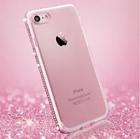 Силиконовый розовый чехол с камнями Сваровски для Iphone 7 8