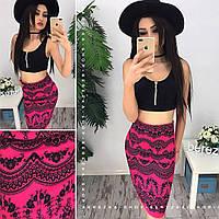 Женский стильный костюм: топ на молнии и юбка с узором (4 цвета)