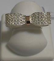 Кольцо из серебра и золота с белыми камнями Вегас