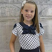"""Блузка для девочки """"Жабо""""(в горох белая), фото 1"""