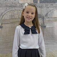 """Блузка для девочки """"Жабо""""( белая-длиный рукав), фото 1"""