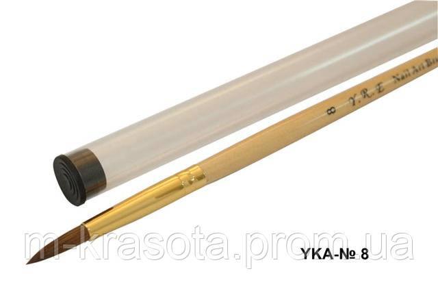 Кисть для акрила с прозрачной ручкой и деревянной ручкой № 8