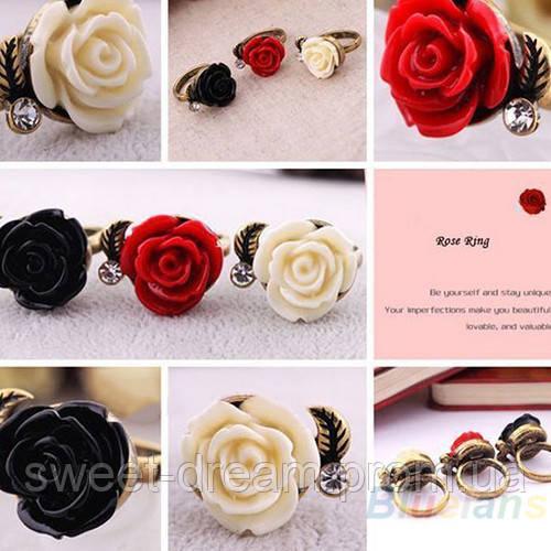 """Хит продаж! Модное женское кольцо в ретро-стиле Роза, цвет - красный, белый, черный - Модный магазин """"Sweet Dream"""" в Херсонской области"""