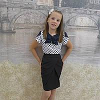 """Школьная юбка, юбка для девочек  """"запах""""черный"""