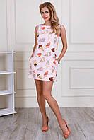 Модное приталенное летнее платье мини с современным принтом пирожное, мороженное,  маки,  птицы