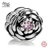 """Серебряная подвеска-шарм Пандора (Pandora) """"Розовая цветущая роза"""" для браслета"""