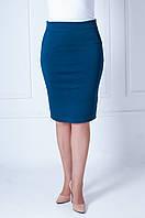Молодежная женская юбка карандаш темно-бирюзового цвета