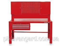 Верстак слесарный 3 полки выдвижных, 2 наверсных шкафа, перфорированная панель King Tony 87502