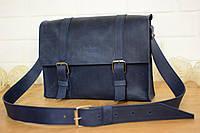 Мужская  кожаная сумка-мессенджер | Синий Винтаж , фото 1