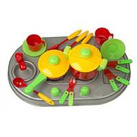 Яркий кухонный набор плита с мойкой+посуда
