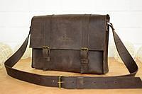Мужская коричневая кожаная сумка-мессенджер   Винтажный кофе , фото 1