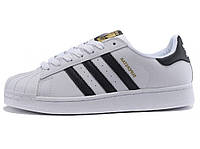 Женские кроссовки Adidas Superstar Leather White-Black-Gold
