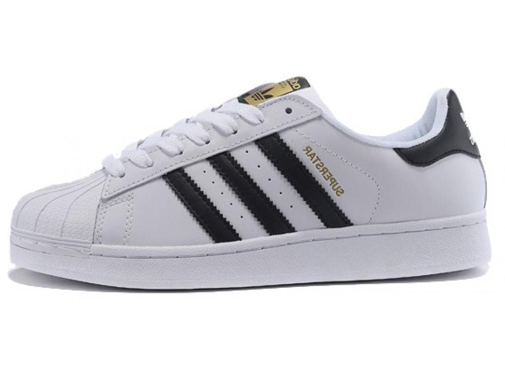 Женские кроссовки Adidas Superstar Leather White   Black (Адидас Супер  Стар ee9dfda7b997e
