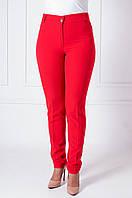Офисные женские брюки с манжетами Адрианна красного цвета