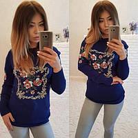Женский яркий свитер с цветочным рисунком P6709