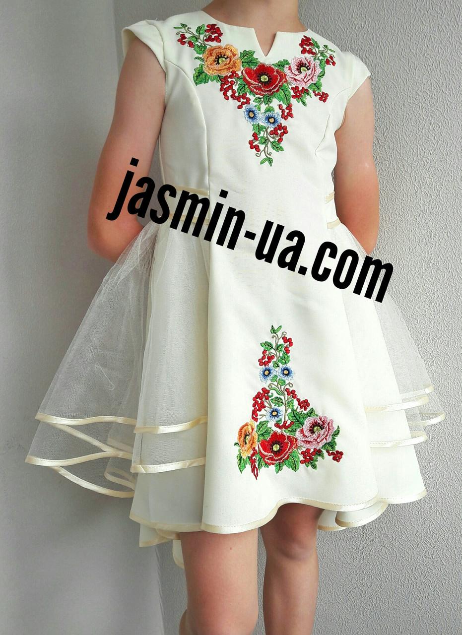 Нарядное вышитое платье для девочки с фатином