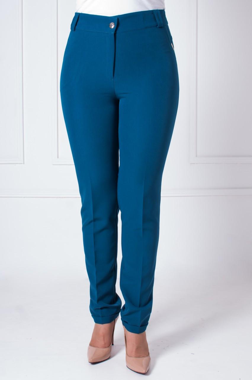 Офисные женские брюки с манжетами Адрианна темно-бирюзового цвета