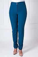 Офисные женские брюки с манжетами Адрианна темно-бирюзового цвета, фото 1