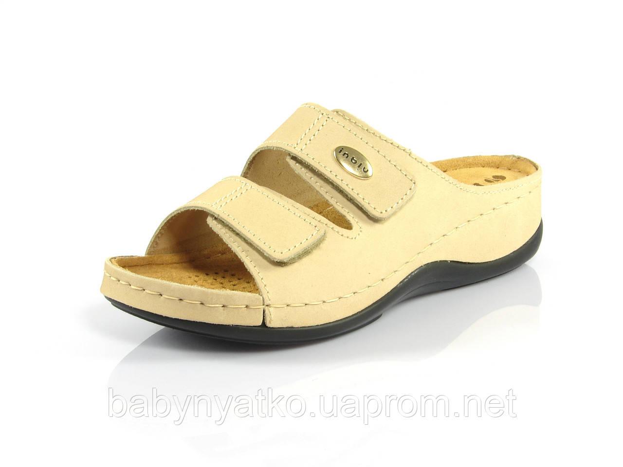 Ортопедическая женская обувь Inblu шлепанцы кожаные прошитые р.37(23см)  песочные fdb4038c2e80b