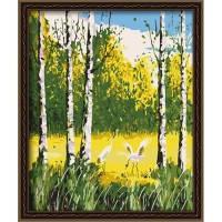 Картина раскраска по номерам на холсте 40*50см Идейка MG026 Берёзовая роща