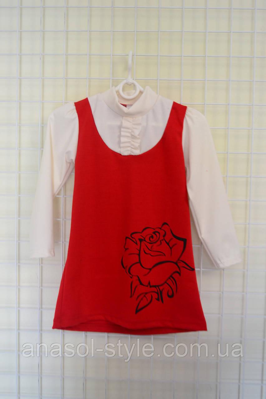 Платье для девочки жабо красное с белым