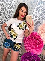 Модный женский комплект костюм джинсовые шорты и футболка с объемными цветами тренд 2017!!!