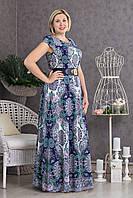 Длинное женское платье Тина с принтом в виде синих завитков