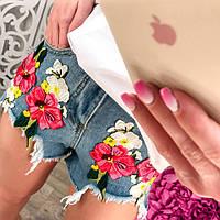 Стильные женские джинсовые шорты с вышивкой цветы тренд 2017 года