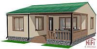 Одноэтажный коттедж энергосберегающий дом с солнечными батареями
