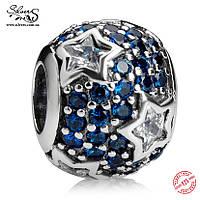 """Серебряная подвеска-шарм Пандора (Pandora) """"Синие звезды"""" для браслета"""