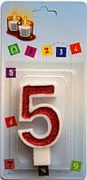 Тортовая свеча цифра Классика красная - 5 лет