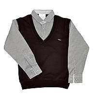 Рубашка-обманка школьная для мальчиков. размеры 6-9 лет