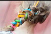 Волосы на заколках накладные цветные  пряди.разноцветные прядки волос розовые