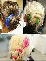 Волосы на заколках накладные цветные  пряди.разноцветные голубые розовые пряди