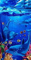 Пляжное полотенце 1.8х1.05 Дельфины и корабль