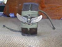 Кожаный браслет ЧЕРЕП С КРЫЛЬЯМИ на руку, ручная работа
