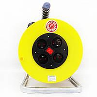 Переноска электрическая 25 метров с выключателем на катушке,  3GX2.5mm, 4 розетки.