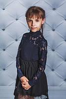 Школьная, нарядная, модная блузка для девочки с гипюром цвет синий рост - 122, 128, 134, 140, 146, 152